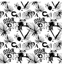 seamless pattern of tropical birds palms flowers vector image