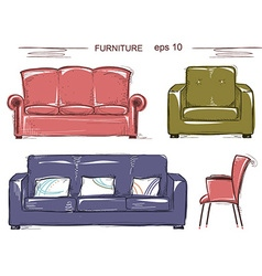 Set of couch and armchairs color sketchy vector image