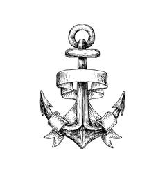Sketch of retro nautical anchor with wavy banner vector image
