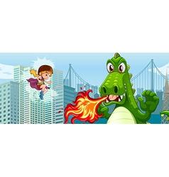 Superhero fighting green dragon in city vector