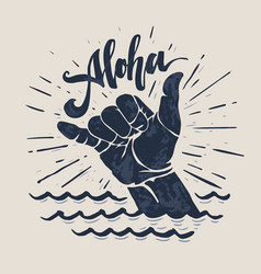 Surf hand sign vector