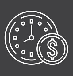 time is money line icon business and finance vector image vector image