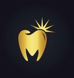 Tooth dental shine abstract gold logo vector
