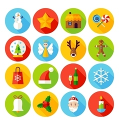 Winter christmas flat icons vector