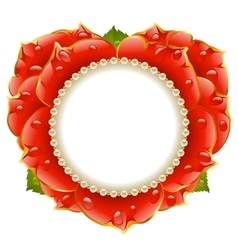 red Rose heart frame vector image