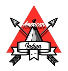 Color vintage american indian emblem vector