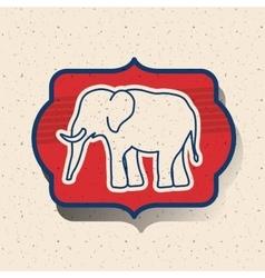 Elephant of vote inside frame design vector
