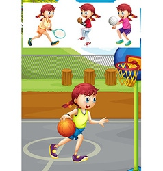 Girl playing different types of sports vector image