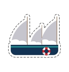 Frigate recreation travel cut line vector