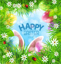Easter background with rabbit ears eggs vector