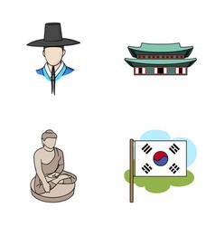 korean in national headdress korean monastery vector image