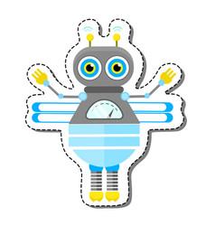 Blue friendly cartoon bee robot character vector