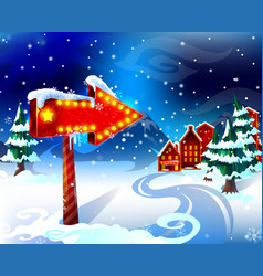 Cartoon colorful winter landscape template vector