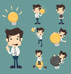 Set of businessman characters make idea vector