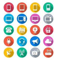 Communication device flat color icons vector