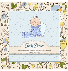 New baby announcement card with little baby vector