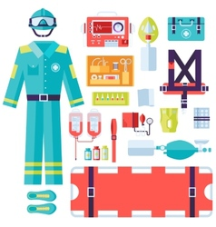 Medical rescue uniform and set first aid help vector