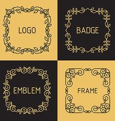 Outline frames and badges vector