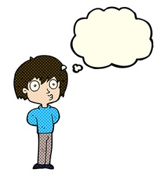 cartoon impressed boy with thought bubble vector image