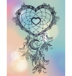 Heart shaped dream catcher with moon vector