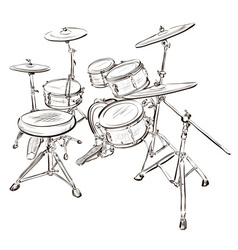 Sketch of a drum kit vector