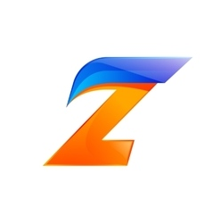 Z letter blue and orange logo design fast speed vector