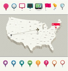 3d usa map with pins vector