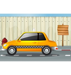 A car a fire hydrant and a notice board vector image vector image