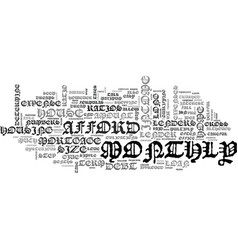 Affodable mortgage size text word cloud concept vector