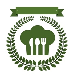 Arch of green leaves with chefs hat and cutlery vector image vector image