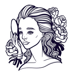 beautiful of a girl and a mask vector image