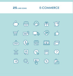 blue online shopping line icons set vector image vector image