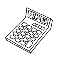 Calculator icon outlined vector