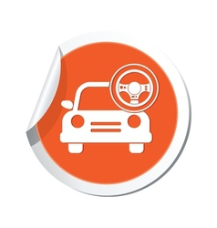 Car with rudder icon orange label vector