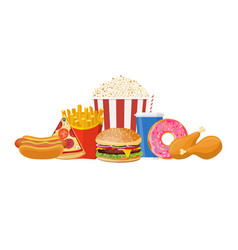 colorful fast food vector image vector image