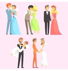 Couples getting married vector
