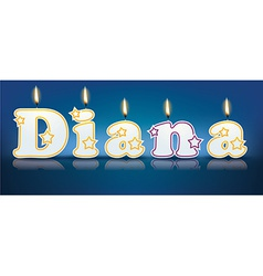 Diana written with burning candles vector