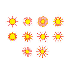 flat color sun icon set vector image vector image