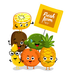 Funny fruit isolated cartoon characters vector