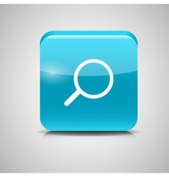 Glass search button icon vector