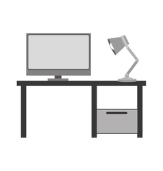 Gray scale silhouette with home office vector