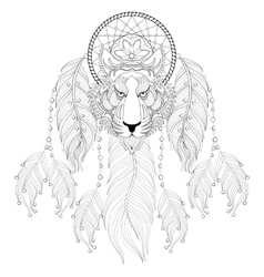 Hand drawn zentangle Dreamcatcher with tribal vector image vector image