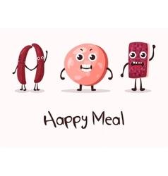 Happy cartoon meat character with hands vector