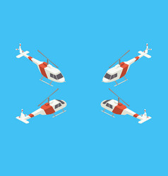 helicopter four views isometric vector image