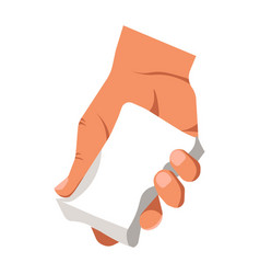 human hand holding white duster for cleaning or vector image vector image