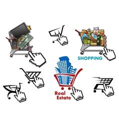 Internet market store shop design elements set vector