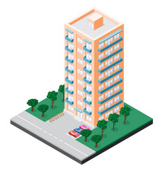 Isometric multistory building with balconies vector