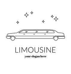 Limousine service black and white graphic outline vector image