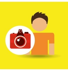 Male character traveler photo camera vector