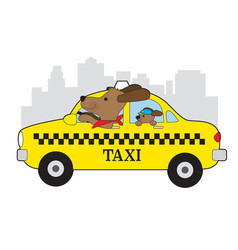 New york taxi dog vector